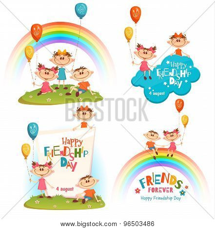 Set with poster of Friendship Day celebration. Funny children on glass and rainbow. Vector illustrat