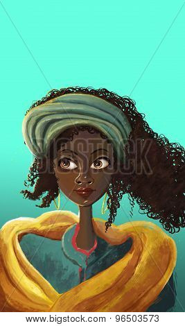 African girl face portrait illustrations