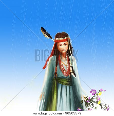 indian girl portrait illustration