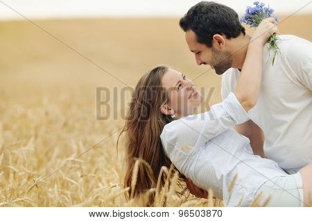Sensual Young Couple Having Fun In Summer Field