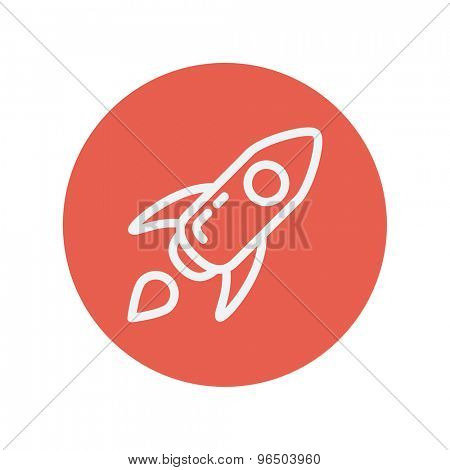 Start-up thin line icon for web and mobile minimalistic flat design. Vector white icon inside the red circle.
