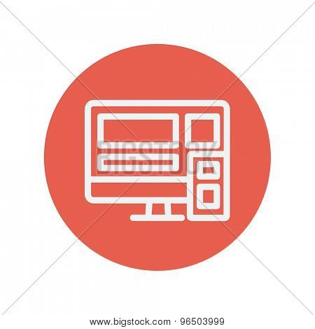Computer with speaker thin line icon for web and mobile minimalistic flat design. Vector white icon inside the red circle.