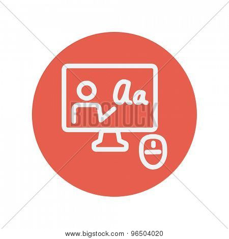 Laptop and mouse in online tutorial thin line icon for web and mobile minimalistic flat design. Vector white icon inside the red circle.