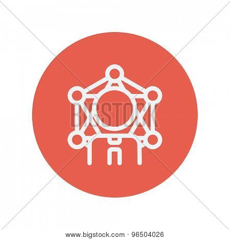 Student thin line icon for web and mobile minimalistic flat design. Vector white icon inside the red circle.
