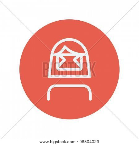 Girl wearing virtual reality headset thin line icon for web and mobile minimalistic flat design. Vector white icon inside the red circle.