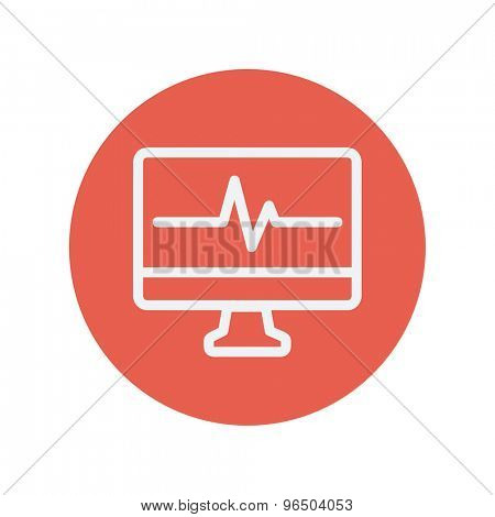 Heartbeat display in monitor thin line icon for web and mobile minimalistic flat design. Vector white icon inside the red circle.