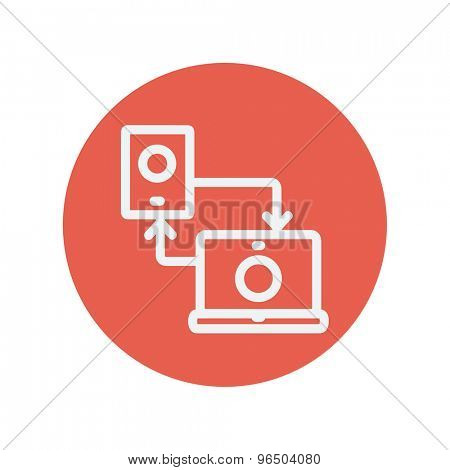 Synchronization smartphone with laptop thin line icon for web and mobile minimalistic flat design. Vector white icon inside the red circle.