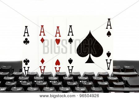 Internet Casino Poker Four Of Kind Aces Cards Combination Hearts