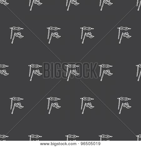 Vector hand drawn doodle masks seamless pattern