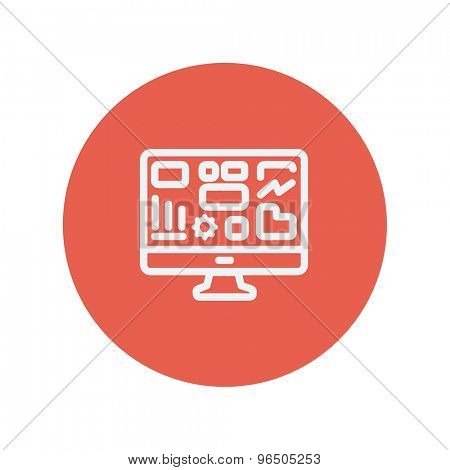Monitor with business graph thin line icon for web and mobile minimalistic flat design. Vector white icon inside the red circle.