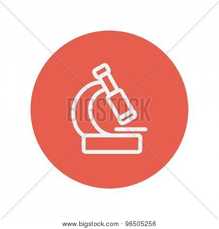Microscope thin line icon for web and mobile minimalistic flat design. Vector white icon inside the red circle.