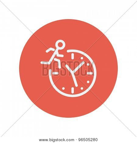 Man running on time thin line icon for web and mobile minimalistic flat design. Vector white icon inside the red circle.
