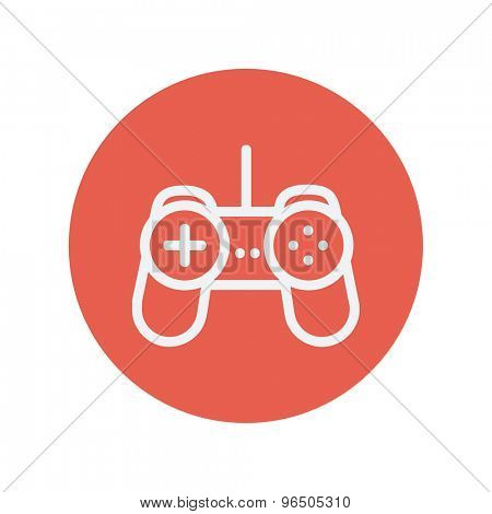 Joystick thin line icon for web and mobile minimalistic flat design. Vector white icon inside the red circle.