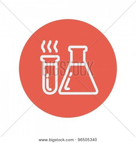 Test tube and beaker thin line icon for web and mobile minimalistic flat design. Vector white icon inside the red circle.