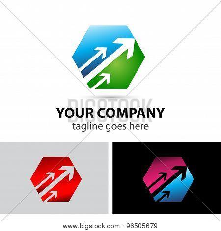 Abstract arrow logo triangle icon template symbol
