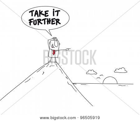 Take it further. This man is on the top of a mountain. He is pointing the finger the horizon.