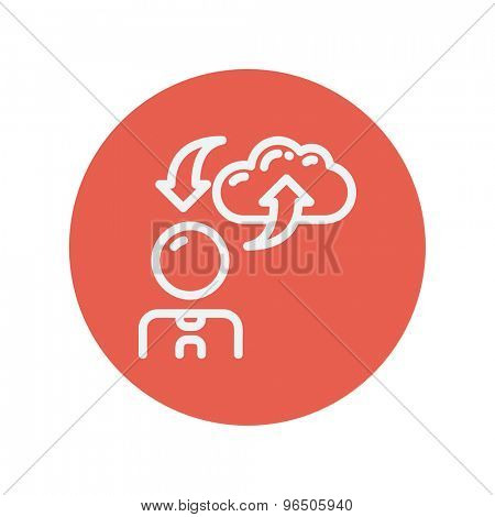 Man with cloud upload and download arrows thin line icon for web and mobile minimalistic flat design. Vector white icon inside the red circle.