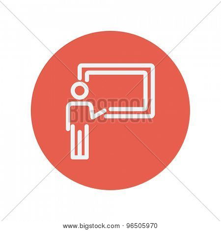 Professor in front of a blackboard thin line icon for web and mobile minimalistic flat design. Vector white icon inside the red circle.