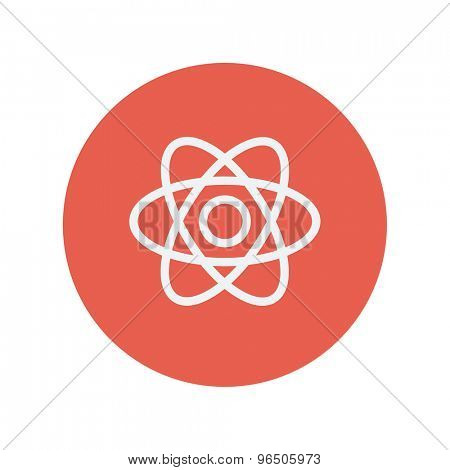 Atom thin line icon for web and mobile minimalistic flat design. Vector white icon inside the red circle.