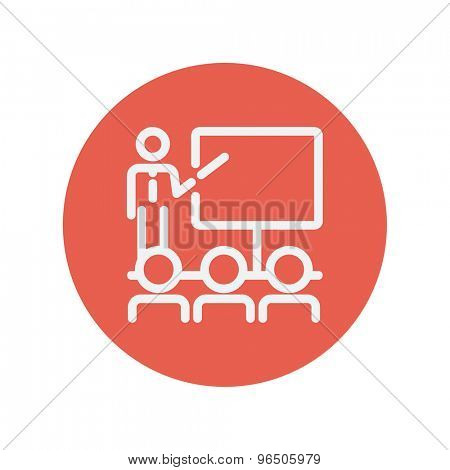 Businessman giving a presentation thin line icon for web and mobile minimalistic flat design. Vector white icon inside the red circle.