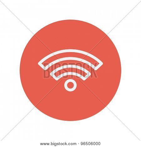 Wifi thin line icon for web and mobile minimalistic flat design. Vector white icon inside the red circle.