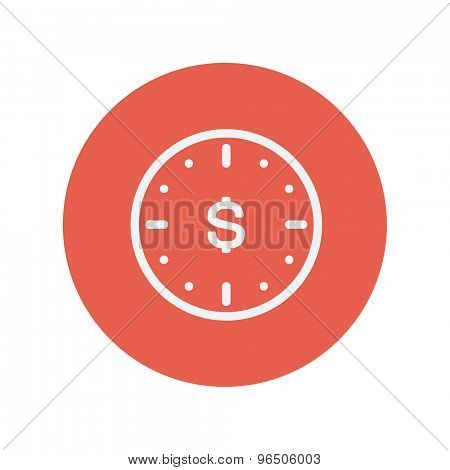 Business flat thin line icon for web and mobile minimalistic flat design. Vector white icon inside the red circle.