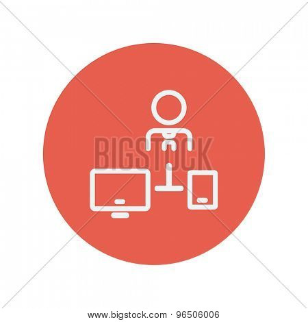 Man with computer set thin line icon for web and mobile minimalistic flat design. Vector white icon inside the red circle.