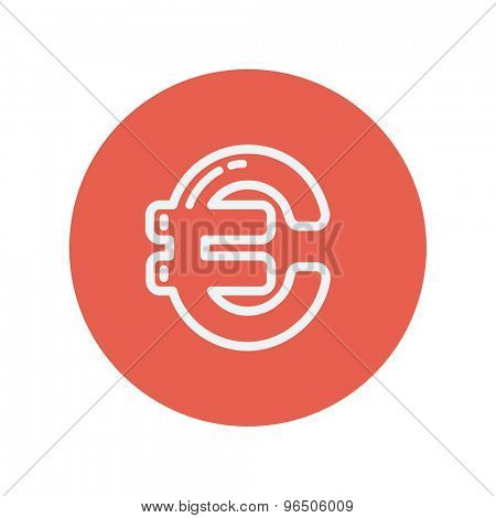 Euro symbol thin line icon for web and mobile minimalistic flat design. Vector white icon inside the red circle.