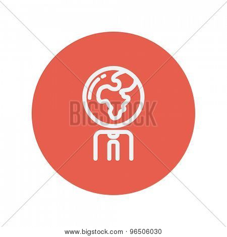 Human with globe head thin line icon for web and mobile minimalistic flat design. Vector white icon inside the red circle.