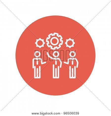 Businessmen holding a gear of a machine thin line icon for web and mobile minimalistic flat design. Vector white icon inside the red circle.