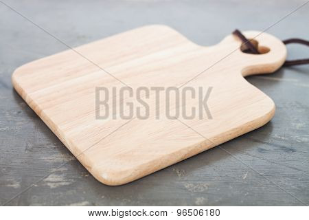 Wooden Plate On Gray Background