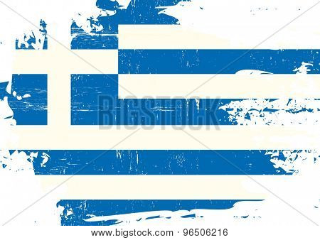 Scratched Greek flag. A flag of Greece with a grunge texture