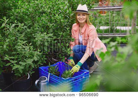 Smiling gardener looking at camera while replanting garden flowers