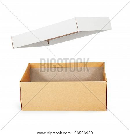 Brown Shoe Box On White Background With Clipping Path. For Shoes, Electronic Device And Other Produc
