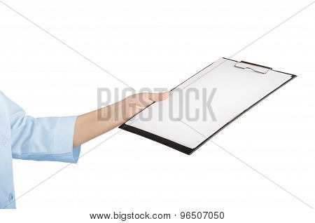 A Young Nurse Is Holding In His Hand The Tablet To Take Notes. Isolated On White Background