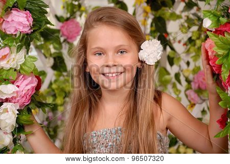 Girl In A Flower Arbor