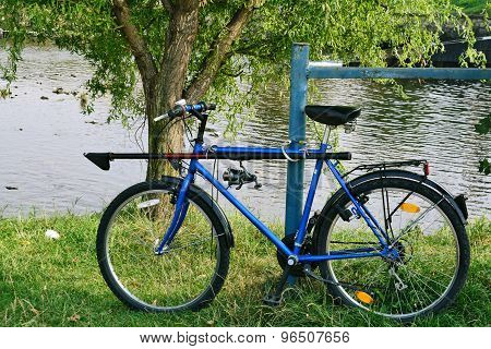 Fisherman's Bicycle With Rod And Reel