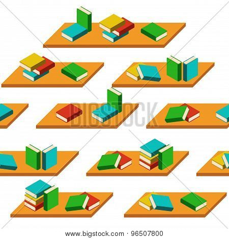 Vector Seamless Isolated Pattern Bookshelves And Books