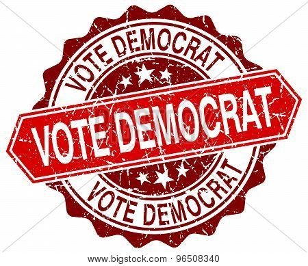 Vote Democrat Red Round Grunge Stamp On White