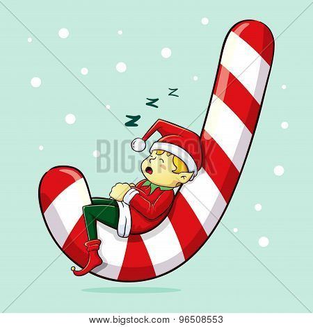 Christmas Elf Sleeping On Candy Cane
