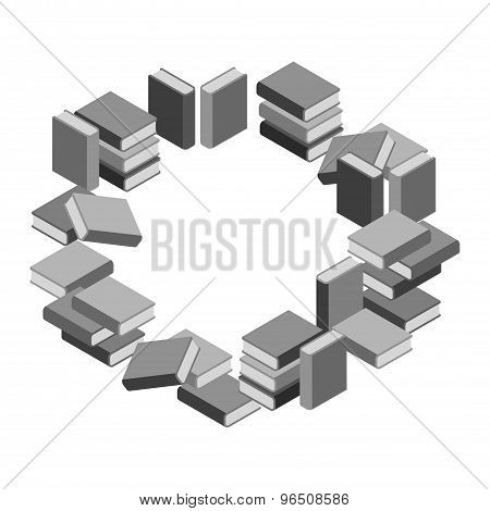Set Of Stacks Of Books In Gray Scale In Circle