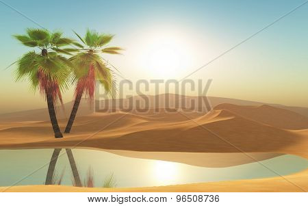 3D render of palm trees in a desert