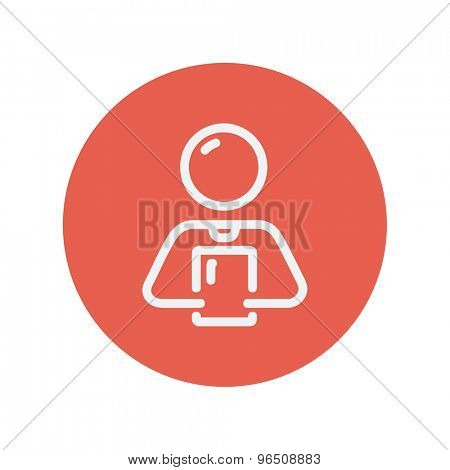 Man holding touch screen tablet thin line icon for web and mobile minimalistic flat design. Vector white icon inside the red circle.