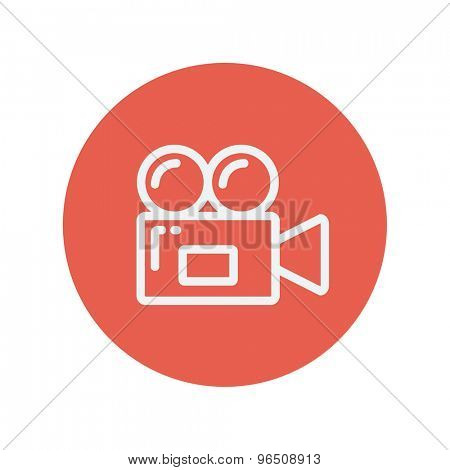 Video camera thin line icon for web and mobile minimalistic flat design. Vector white icon inside the red circle.