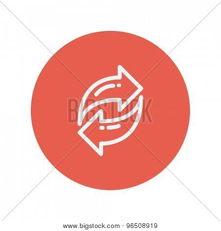 Exchanging arrow thin line icon for web and mobile minimalistic flat design. Vector white icon inside the red circle.