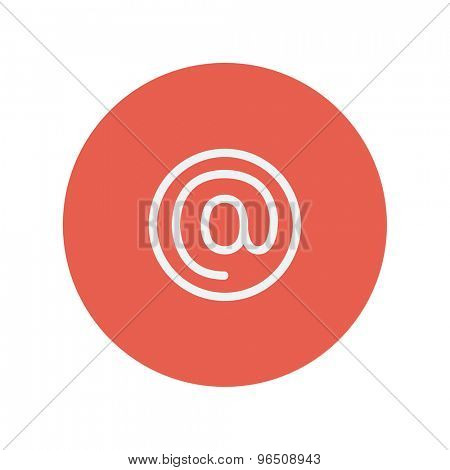 E-mail internet thin line icon for web and mobile minimalistic flat design. Vector white icon inside the red circle.