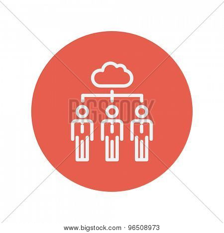 Three businessmen under the cloud thin line icon for web and mobile minimalistic flat design. Vector white icon inside the red circle.