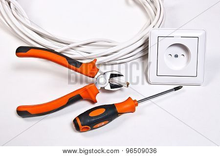 Electrician Tools, Cable And Wall Socket