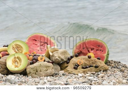 Summer fruits on the rocks.