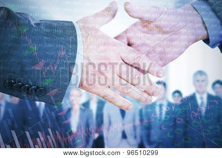 Two people going to shake their hands against stocks and shares